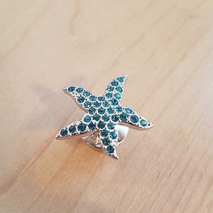 Swarovski Blue Green Crystal Starfish Tac Tack Pin